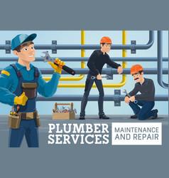 plumber service maintenance repair banner vector image