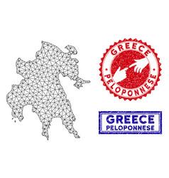Polygonal 2d peloponnese peninsula map and grunge vector