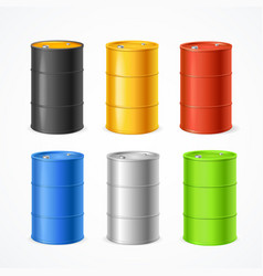 realistic 3d detailed color barrels set vector image