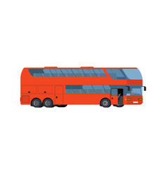 Red double-decker coach big tour bus isolated on vector