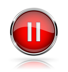 Red round media button pause button shiny icon vector