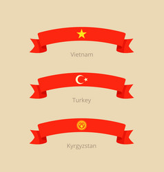 Ribbon with flag of vietnam turkey and kyrgyzstan vector