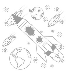 rocket with planets and asteroid vector image