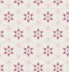 Rose Quartz flower in hexagon seamless pattern vector