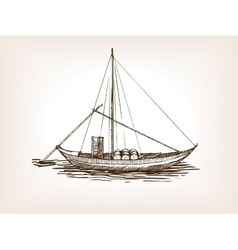 Sailing ship wine barrels sketch vector