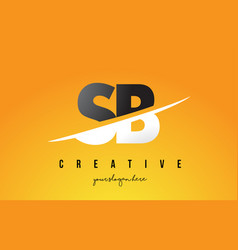 Sb s b letter modern logo design with yellow vector