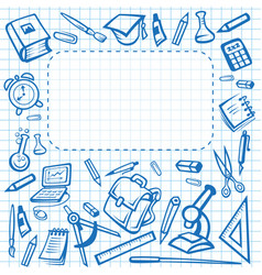 school stationery poster copybook vector image