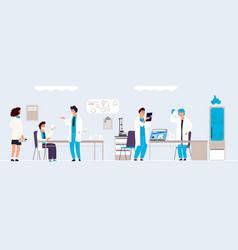 Scientific research cartoon people in lab doing vector