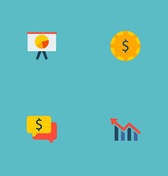 set of commerce icons flat style symbols with vector image