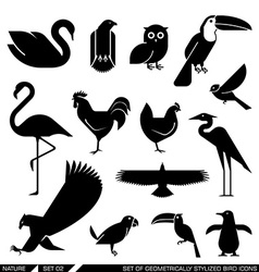 Set of geometrically stylized bird icons vector