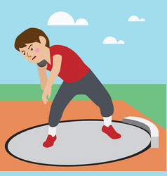 shot-put athletic sport cartoon set vector image