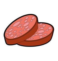 Sliced sausage meat vector