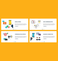 Social media communication and business connection vector