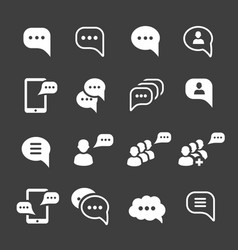 speech bubble icons message text pictogram set vector image