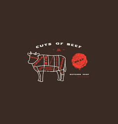 stock beef cuts diagram in thin line style vector image