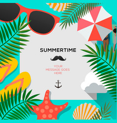summertime background with palms leaf vector image