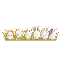 sweet easter egg characters in the grass funny vector image