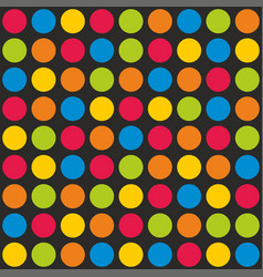 Tile pattern with colorful polka dots on black vector