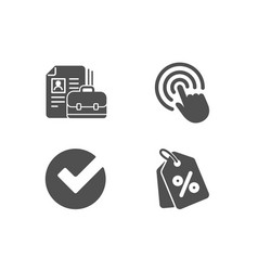 Vacancy click and verify icons discount tags vector