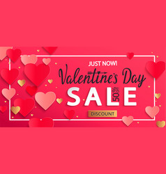 Valentines day sale background with gold hearts vector