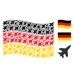 Waving germany flag collage of jet fighter items vector