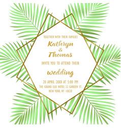 wedding tropical invitation card vector image