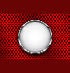 White button frame on red perforated background vector