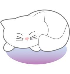 White Sleeping Kitty vector