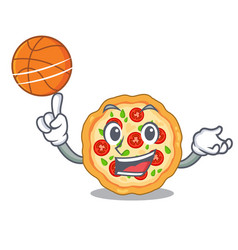 With basketball margherita pizza in a cartoon oven vector