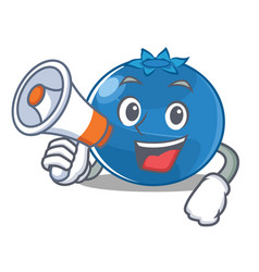 With megaphone blueberry character cartoon style vector