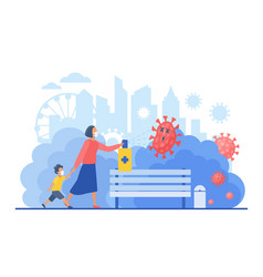 woman with small kid walking in city public park vector image