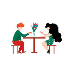 young man and beautiful woman sitting in cafe vector image