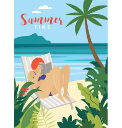young woman reading book on beach vector image