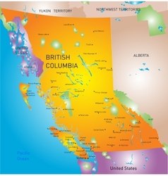 British columbia province map vector