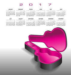 A 2017 calendar with an empty guitar case vector image