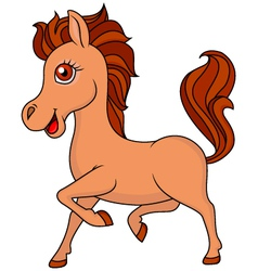 Brown horse cartoon vector image vector image