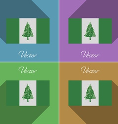 Flags Norfolk Island Set of colors flat design and vector image