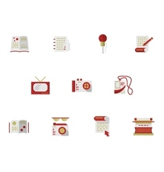 Flat simple icons for media publishing vector image