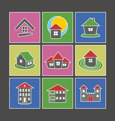 Icons of houses vector image