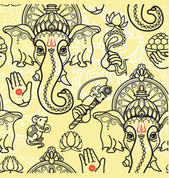 seamless pattern of hand drawn line art vector image vector image
