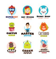 cartoon mascots set kids logo templates vector image