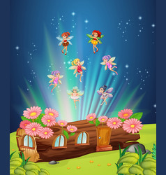 fairies flying over the log house vector image