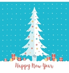 Happy New Year Christmas tree and present boxes vector image vector image