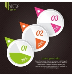 progress icons for three steps vector image vector image