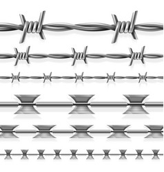 safety steel barbed and razor wire seamless vector image