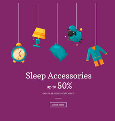 sale background with cartoon sleep elements vector image