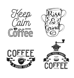 Set of coffee related typography quotes about vector