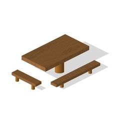 Wooden table and bench 3d isometric elements vector image vector image