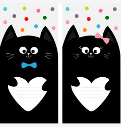 Black cat kitty family holding empty heart shape vector