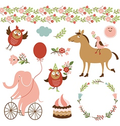 cute animals and graphic elements vector image